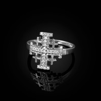 White Gold Jerusalem Cross Clear CZ Ring