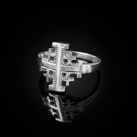 White Gold Jerusalem Cross Ring