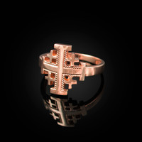 Rose Gold Jerusalem Cross Ring