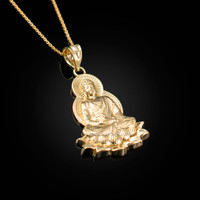 Yellow Gold Lotus Buddha Yoga Pendant Necklace