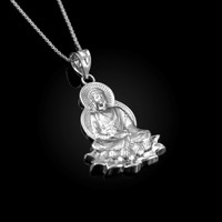 White Gold Lotus Buddha Yoga Pendant Necklace