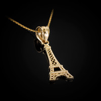 Yellow Gold Paris Eiffel Tower Travel Charm Necklace