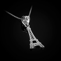 White Gold Paris Eiffel Tower Travel Charm Necklace