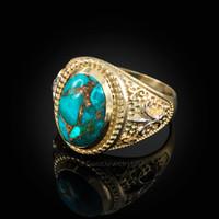 Two-Tone Yellow Gold Blue Copper Turquoise Fleur-De-Lis Gemstone Ring