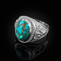 White Gold Blue Copper Turquoise Fleur-De-Lis Gemstone Ring