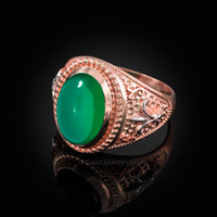 Two-Tone Rose Gold Green Onyx Fleur-De-Lis Gemstone Ring