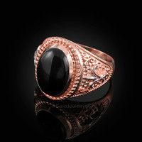 Two-Tone Rose Gold Black Onyx Fleur-De-Lis Gemstone Ring