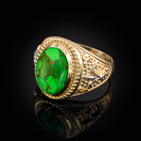 Two-Tone Yellow Gold Green Copper Turquoise Fleur-De-Lis Gemstone Ring