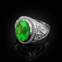 White Gold Green Copper Turquoise Fleur-De-Lis Gemstone Ring