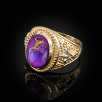 Two-Tone Yellow Gold Purple Copper Turquoise Fleur-De-Lis Gemstone Ring