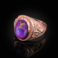 Two-Tone Rose Gold Purple Copper Turquoise Fleur-De-Lis Gemstone Ring