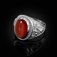 White Gold Red Onyx Fleur-De-Lis Gemstone Ring