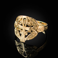 Yellow Gold Ankh Egyptian Eye of Horus Ring