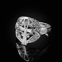 White Gold Ankh Egyptian Eye of Horus Ring