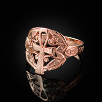 Rose Gold Ankh Egyptian Eye of Horus Ring