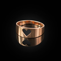 Polished Rose Gold Open Heart Ring