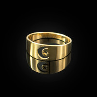 Polished Gold Islamic Crescent Moon Ring Band