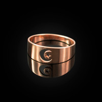Polished Rose Gold Islamic Crescent Moon Ring Band