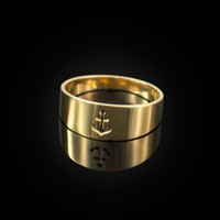 Polished Gold Anchor Ring Band