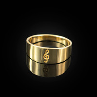 Polished Gold Treble Clef Music Note Ring Band