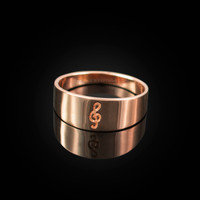 Polished Rose Gold Treble Clef Music Note Ring Band