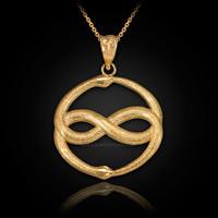 Yellow Gold Double Ouroboros Infinity Snakes Pendant Necklace