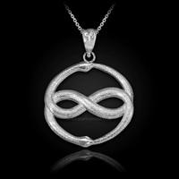 White Gold Double Ouroboros Infinity Snakes Pendant Necklace