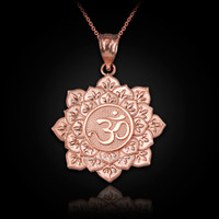 Rose Gold Om Lotus Mandala Pendant Necklace