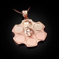 Rose Gold Russian Roulette Pendant Necklace