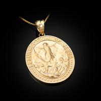 Yellow Gold Resurrection of Jesus Oval Medallion Pendant Necklace