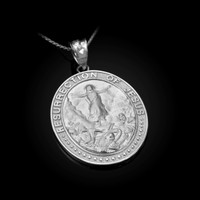 White Gold Resurrection of Jesus Oval Medallion Pendant Necklace