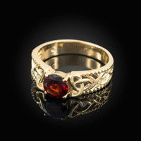 Yellow Gold Celtic Knot Garnet Gemstone Ring