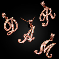 Rose Gold Sparkle-Cut Letter Initial Script Pendant Necklace