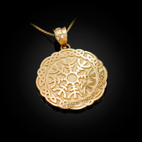 Yellow Gold  Celtic Knots Mandala Womens Pendant Necklace
