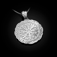 White Gold  Celtic Knots Mandala Womens Pendant Necklace
