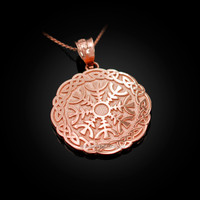 Rose Gold  Celtic Knots Mandala Womens Pendant Necklace