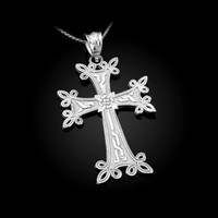 White Gold Armenian Reversible Cross Pendant Necklace