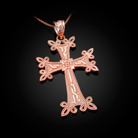 Rose Gold Armenian Reversible Cross Pendant Necklace