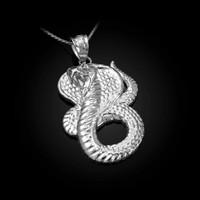 White Gold King Cobra Snake Pendant Necklace
