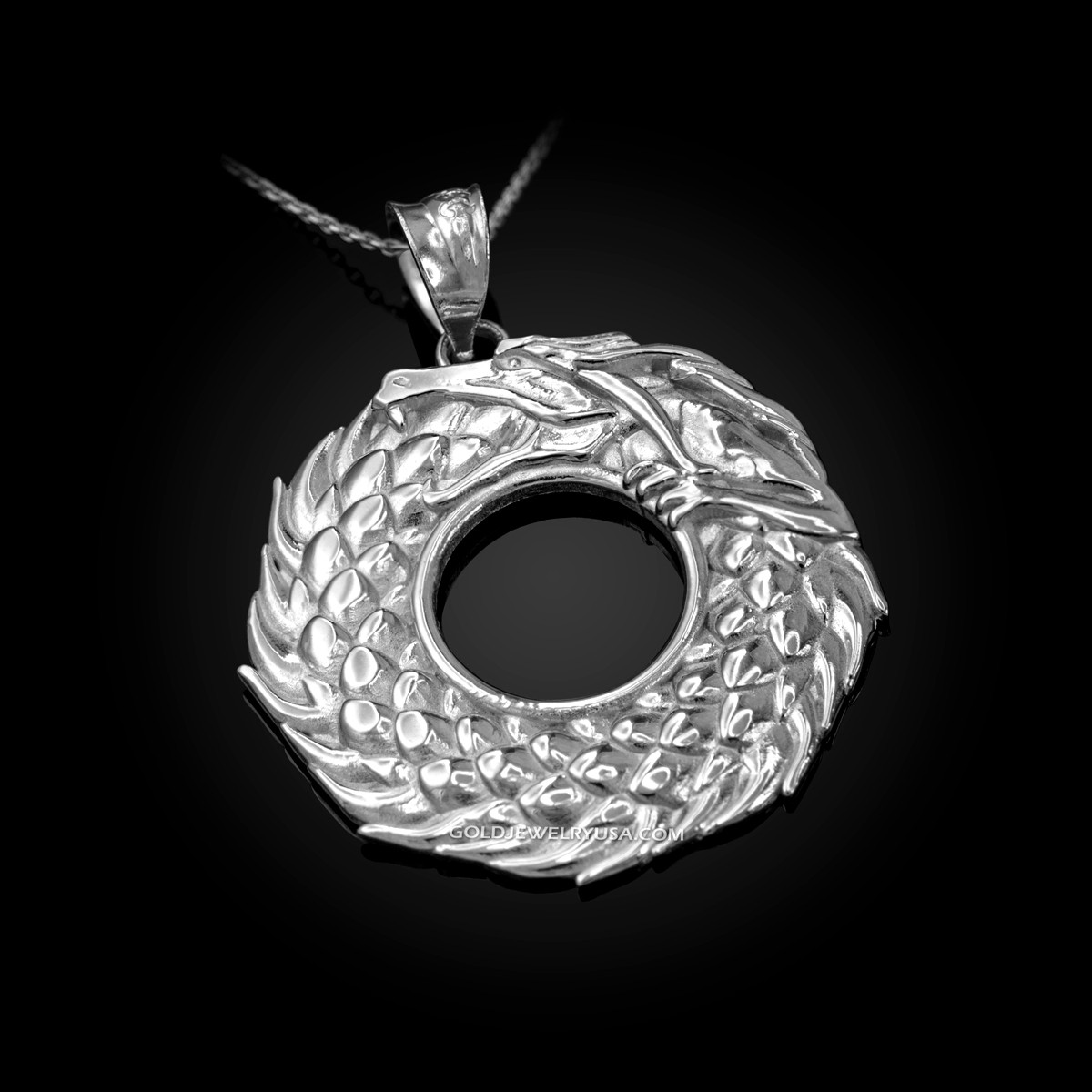 10K Yellow Gold Ouroboros Tail Biting Snake Pendant Necklace