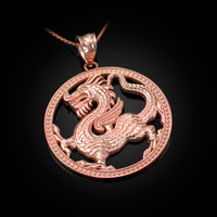 Rose Gold Chinese Dragon Open Medallion Pendant Necklace