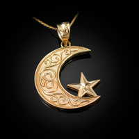 Yellow Gold Islamic Crescent Moon Pendant Necklace