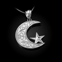 White Gold Islamic Crescent Moon Pendant Necklace