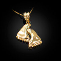 Yellow Gold Baby feet Pendant Necklace