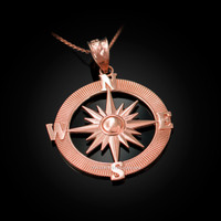 Rose Gold Compass Pendant Necklace