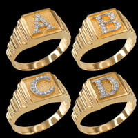 Yellow Gold A-Z Diamond Letter Initial Square Ring