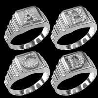 White Gold A-Z Diamond Letter Initial Square Ring