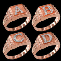 Rose Gold Diamond A-Z Letter Initial Square Ring