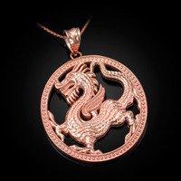 Rose Gold Chinese Dragon Oval Medallion Pendant Necklace
