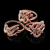Rose Gold Sparkle-Cut Letter Initial Script Ring